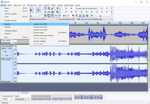 exportar audio audacity