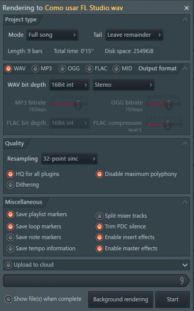 exportar audio final en fl studio
